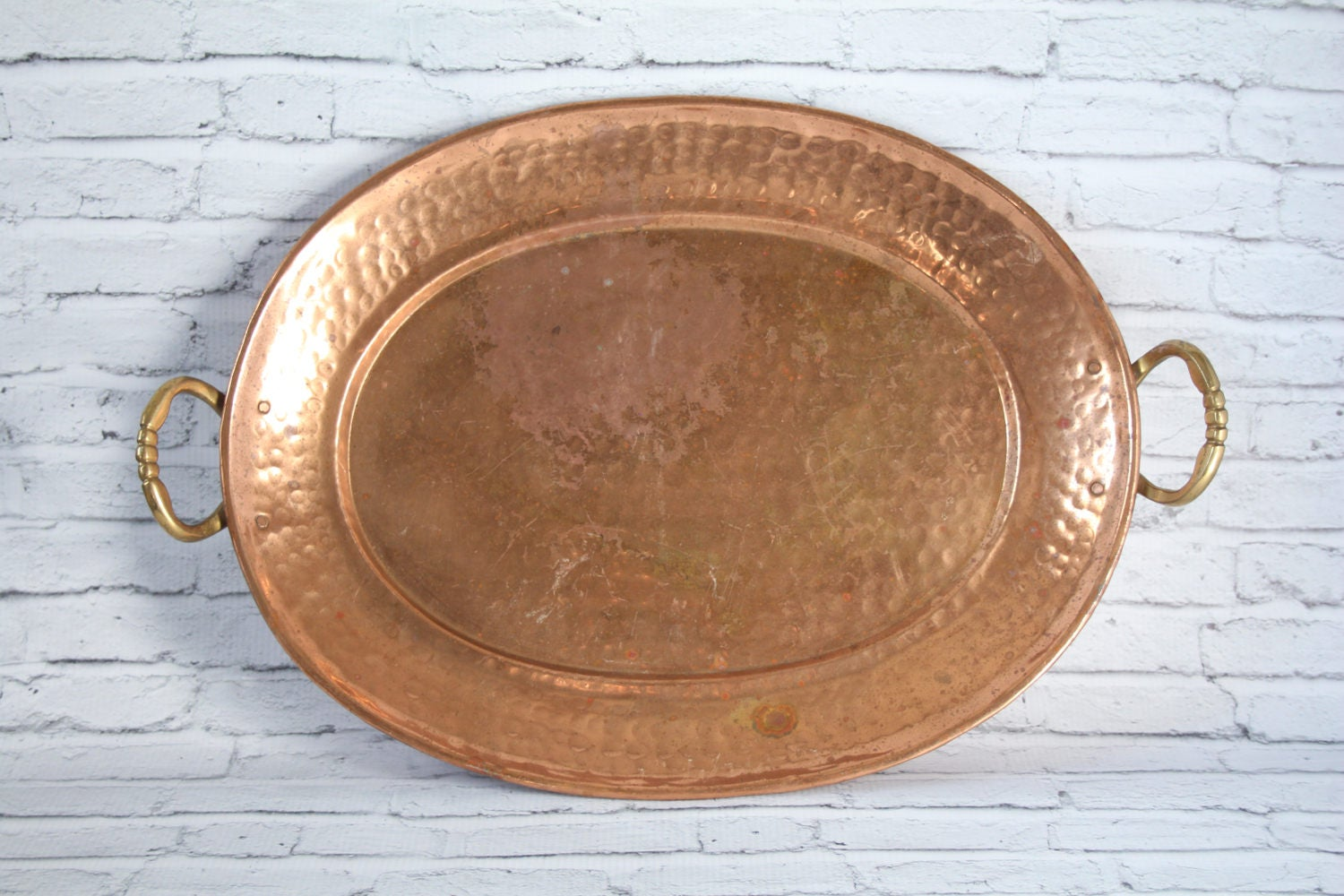 Vintage Large Oval Hammered Copper Serving Tray With Brass