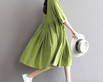 Green tunic dress linen maxi dress pleated dress linen dress loose caftan mini dress plus size linen clothing women dress