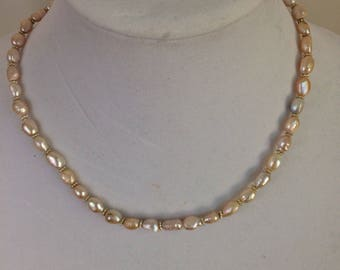 Lustrous freshwater Pearl and silver necklace // wedding necklace // wedding jewelry // mother of the bride // mid-century style // Mad Men