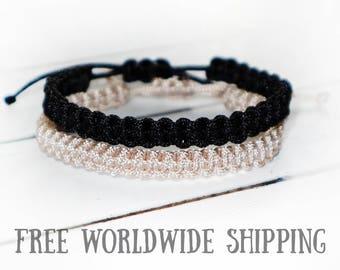 Couple bracelet set, Friendship bracelet, His and Her bracelet, Couple Knotted Bracelet, BFF macrame bracelet, Anniversary, Best friend gift