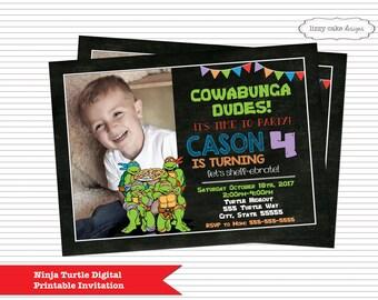 Teenage Mutant Ninja Turtle Birthday Invitation, Ninja Turtle Inspired, TMNT Birthday Party