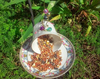 Cotton Candy Teacup Bird Feeder Recycled Repurposed Upcycled Gift for Mom Grandmother Hostess Gift