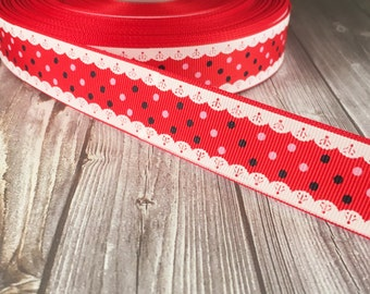 Valentine ribbon - Red white lace ribbon - 1 inch grosgrain - Pretty craft ribbon - Hair bow ribbon - Craft supplies - Hair bow supply