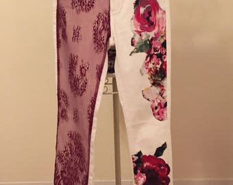 Burgundy lace & pink florals on your white jeans.