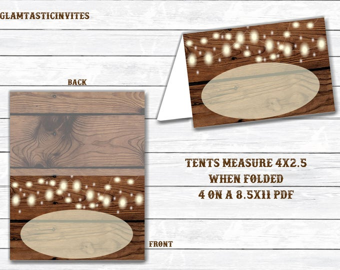Rustic Food Tents, Rustic Name Cards, Rustic Food Cards, Name Cards, Tents, Rustic, Rustic Wedding, Rustic Shower, Shower Decor, WeddingCard