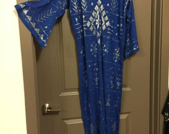 Modern  Dress/Galabeya Dress -Gorgeous Blue and silver