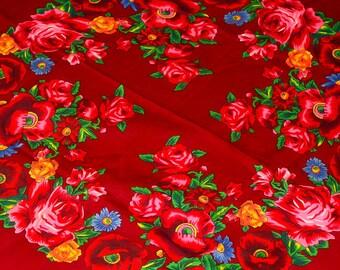 Burgundy Shawl Russian Wool Shawl Scarf with Flowers Ukrainian Shawl Burgundy Wedding Gypsy Shawl Vintage Wool Shawl  Floral Print Scarf