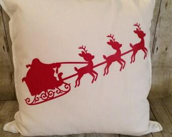 Christmas Pillow Cover- Santa sleigh pillow- Santa pillow- pillow cover- Santa Christmas pillow- Christmas Pillow