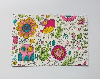 Colorful doodle postcard