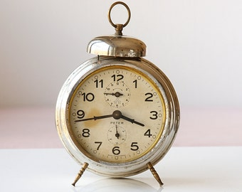 Vintage Large Alarm Clock German desk clock Working Peter 1950's one bell clock Mechanical collectible Old metal table clock Rustic decor