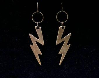 LIGHTNING BOLT earrings, ziggy stardust, thunderbolt, flash gordon, large bronze lightning bolt earrings, goth, gothic, elvis, minimal, punk