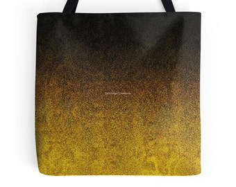 Yellow and Black Glitter Gradient Tote Bag, 3 Sizes Available!