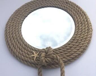 Nautical Rope Mirror, Beach Decor Mirror. 9.5 Inches Across, Mirror Is 6  Inch