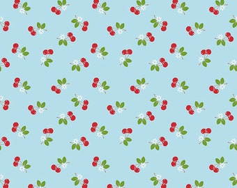 1/2 yd Sew Cherry 2 Cherries Fabric by Lori Holt for Riley Blake C5804 Aqua