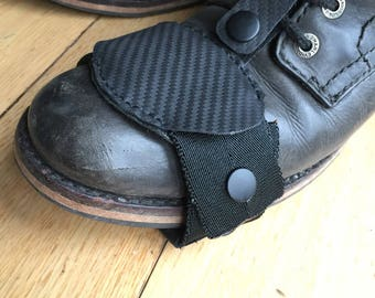 Leather cafe racer boot toe protector.