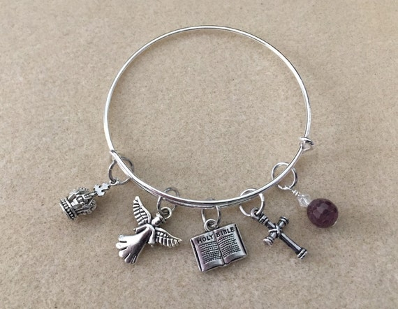 Adjustable Wire Bangle Charm Bracelet with Christian Theme. Bible, Cross, Angel, Crown Charms and Faceted Ruby Gemstone Bead with Crystal