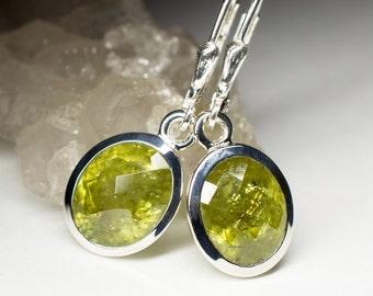 Grossular Silver Earrings art 9406 | Natural Organic  Green Garnet Sterling Silver Earrings Fine Jewelry