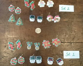 Christmas Cross Stitched Earring Collection/  6 Pairs of Earrings/ needlepoint/ Holiday Earrings/ Hand Crafted/ Great for Nurses Teachers