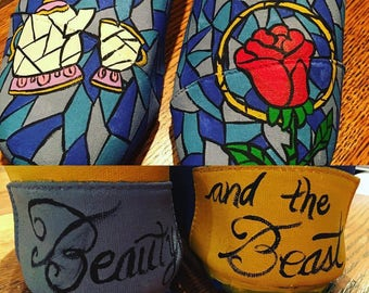 Beauty and the Beast inspired canvas painted shoes
