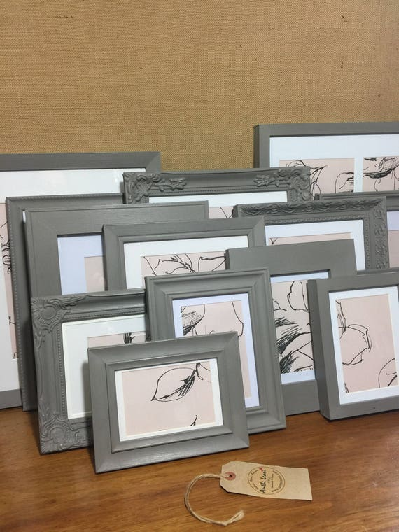 GREY Custom Painted Frames - Other Colours Available - Set of Grey Painted Mismatch Frames - Assorted Mix and Match Frames in Grey
