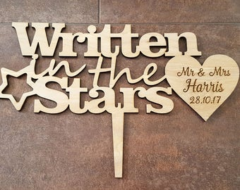 Written in the Stars Engraved Cake Topper, Personalised Wedding Cake Topper, Engraved Cake Topper, Wedding Date Topper, Mr and Mrs Topper