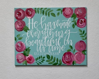 Ecclesiastes 3:11 Canvas, Handlettered Bible Verse Canvas 16X20
