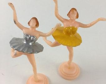 2 vintage ballerina cupcake toppers, ballerina toppers, dimestore ballerina, plastic ballerina topper, yellow ballerina, silver ballerina