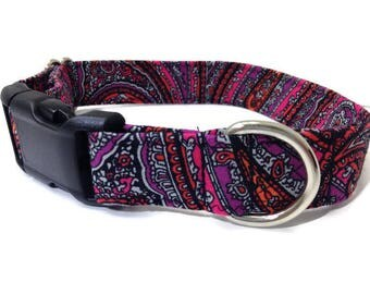 Black Paisley dog collar, black hot pink purple dog collar, Paisley dog collar, bright pink dog collar, female dog collar. LAST ONE