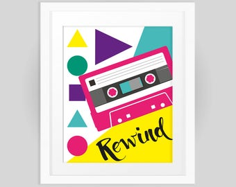 Rewind to the Eighties Retro Music Tape Cassette Print, Colourful graphic design INSTANT DOWNLOAD