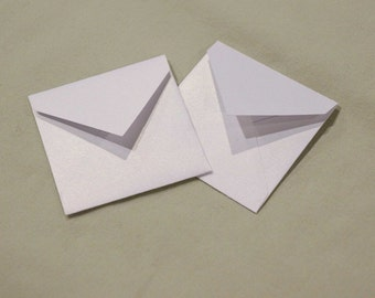 """3 1/4"""" x 3 1/4"""" envelopes - Free Shipping - (25) white cardstock envelopes for 3"""" x 3"""" note cards, advice cards, journal, album"""