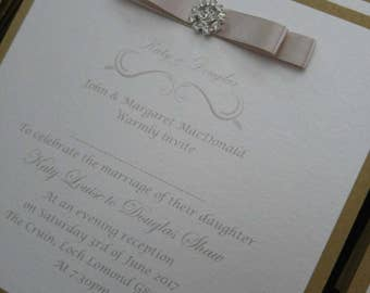 Taupe, Gold and Champagne Dior bow and diamante finished postcard evening vow renewal/ wedding invites/ invitation
