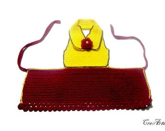 Crochet Apron for wine bottle, Cover bottle, Bottle decorations, Red wine cozy, Decorazione vestito bottiglia (Cod. 13)