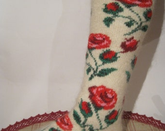 SUPER PRICE Angora Wool and goat fuzz yarn Women Knit Stockings with Red Roses of high quality Knee socks for warmth and comfort