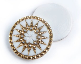 Vintage German Glass Cabochons, white with real gold sun pattern  – 26 mm - round - 2 pcs - C55
