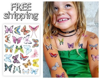 "Temporary tattoos ""Watercolor butterflies"". Kids tatts with bugs. TA020."