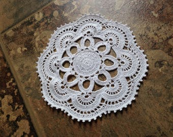 white handmade crochet lace home decor housewarming  small doily, fine thread