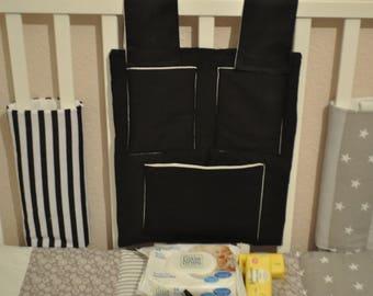 Cot Tidy, Nursery Bedding, Cot Bedding, Nursery Accessories, Black Cot Tidy, Grey Cot Tidy, Scandi Style Baby Bedding Grey Black, Cot Tidy