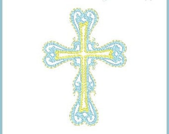 Mini Cross Embroidery Design - Baptism - Christening - Scripture - New Baby  - 4x4