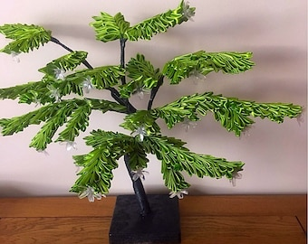 Ribbon crafted light up bonsai tree.