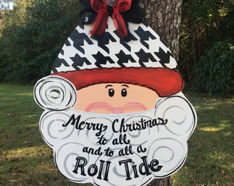 Santa Door Hanger, Santa Claus Door Hanger, Christmas Door Hanger, Alabama Santa Claus, Football Santa