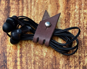 Brown Leather Headphone Case // Leather Earphone Holder - Cable Holder - Cord Keeper - Earbud Holder - Leather Cord Organizer
