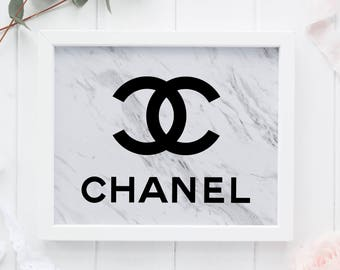 Marble Coco Chanel, Tumblr Room Decor, Chanel Wall Art, Marble Fashion Print, Minimalist Poster, Coco Chanel Printable, Coco Chanel Logo Art