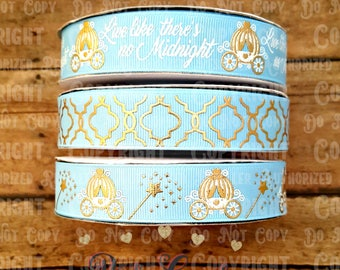 "7/8"" USDR Live Like There's no Midnight Cinderella inspired collection on Blue Topaz Grosgrain Ribbon / Ribbon by the yard"