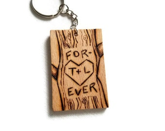 Personalized couples keychain, wood burned keychain, wood gift, couples gift, anniversary gift, gift for boyfriend, couples tree gift