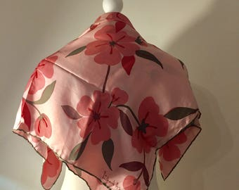 Silk Square Scarf. Richard Allan. Pink Cherry Blossom Flowers. Dusty Pink. Baby Pink. Hand Rolled Edges. Circa 1970's