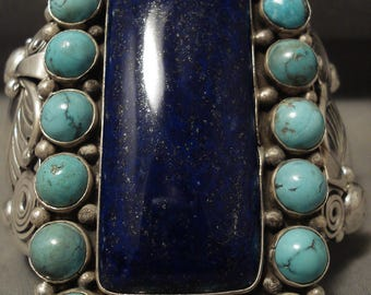 Gargantuan Navajo 'Squared Lapis' Snake Eye Ben Begaye Silver Bracelet