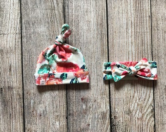 Baby/Toddler/Girls/Adult knot headband nOR beanie. Made from soft, stretchy, knit fabric. Floral print