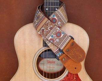 Brown Retro Style Guitar Strap