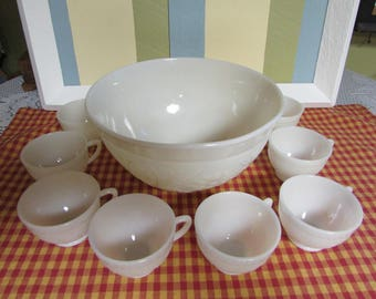Set 9 Pieces Anchor Hocking Punch Bowl VINTAGE and 8 cups VTG Ivory Sandwich Pattern Punch Bowl And 8 Cups
