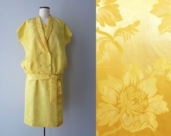 Dandelion yellow dress in 1920s style with dropped waist S